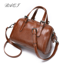 BAQI Women Handbags Shoulder Bags 2019 Fashion Genuine Cow Leather Luxury Designer Women Messenger Bag Crossbody Bag Lady Girls