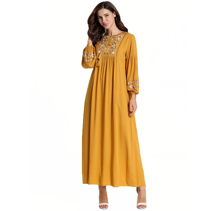 Vestido Embroidery Abaya Arabic Muslim Maxi Dress Kaftan Pakistani Hijab Elbise Caftan Morrocan Islamic Dresses Robe Abito Lungo