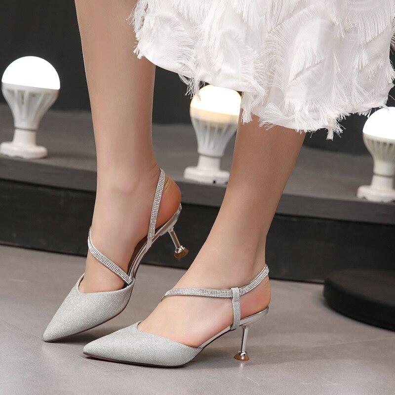 Colores Sandalias Zapatos Dulce A533a Marca Del naked Cordón Pu Silver Mujeres Tobillo Tacones Mujer Vestido Powder Cristal Sexy Mezclados Thin Correa nTEYIxYq