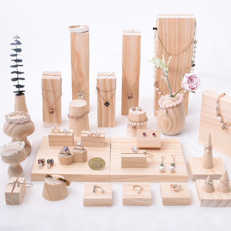Wood Jewelry Display Holder Pendant Earrings Necklace Bracelets Display Stand