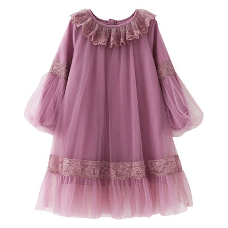 2018 Kids Dresses for Girls Children Long Sleeve Chiffon Robe Fille Baby Summer Princess Clothing Child Beach Wear Pink Green girls europe and the united states children s wear red princess long sleeve princess dress child kids clothing red bow lace