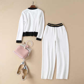 Autumn Spring Designer Elegant Women Casual 2 Pieces Pants Suits Sets Knitted Sweater Elastic Trousers Knitting Twin Sets Outfit