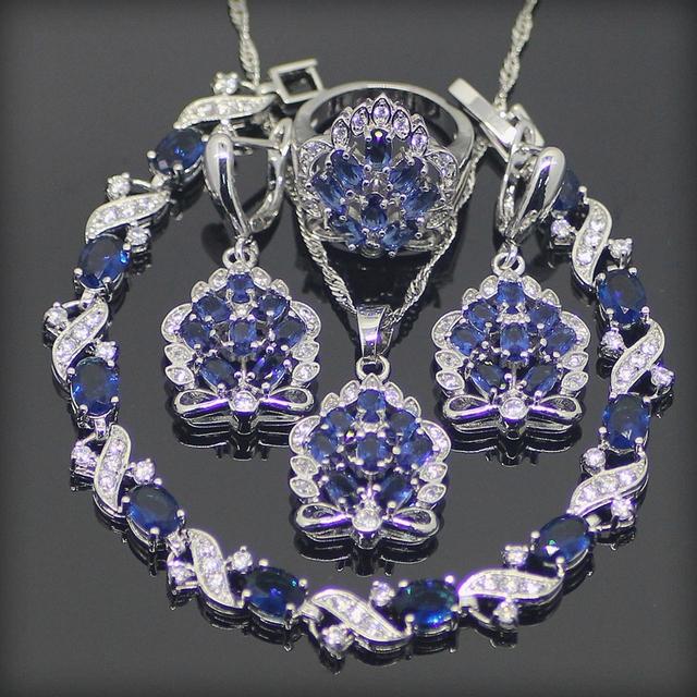 925 Sterling Silver Blue Creado Zafiro Topacio Blanco Sistemas de La Joyería Para Las Mujeres Pendientes/Colgante/Collar/Anillos/pulsera de Caja Libre