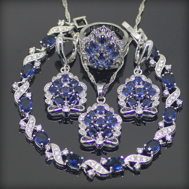925 Sterling Silver Blue Created Sapphire White Topaz Jewelry Sets For Women Earrings/Pendant/Necklace/Rings/Bracelet Free Box