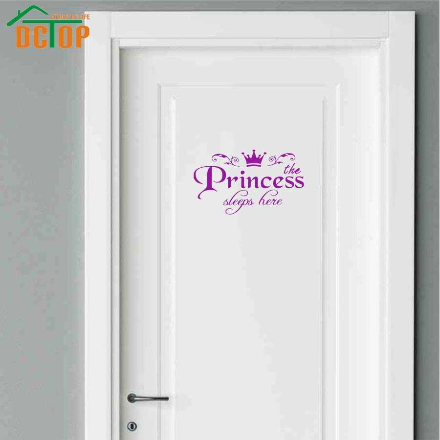 DIY Removable Princess Sleeps here door Wall Stickers Art Vinyl room Decals Home Baby Girls Kids Room Bedroom Dormitory Decor