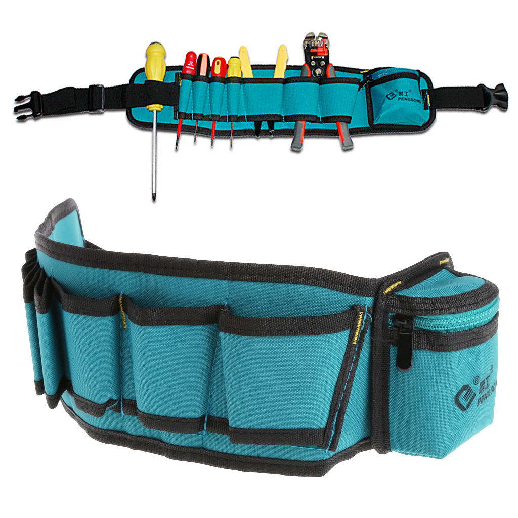 Multi-Pockets Waist Utility Belt Organizer Bag Tool Slot Screwdriver Carry Case
