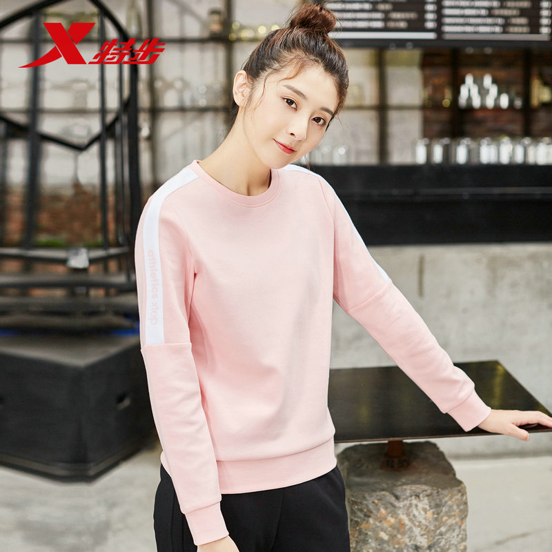 881328059260 Xtep women hoodies sports sweater autumn new round neck foundation women 39 s casual long sleeved fitness in Trainning amp Exercise Sweaters from Sports amp Entertainment