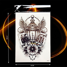 Trendy Temporary Tattoo Light Wing Feather Compass Design Waterproof Body Art Poker Play Cards King Queen Tattoo Stickers HHB531