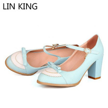 LIN KING Ladies Leather Platforms Lady Fashion Lolita Shoes Sexy Bowtie High Heel Shoes Women Pumps Wedding Shoes size 34-43(China (Mainland))