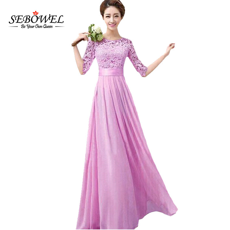 SEBOWEL Women Elegant Lace Long Maxi Dresses Party Dress