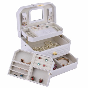 Portable Jewelry Box Girls Jewellery Velvet Organizer 3 Layers Mirrored Holder PU Leather Earrings Case