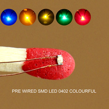 C0402 40pcs Pre soldered micro 0.1mm Copper Wired 0402 SMD Led Different Colors RED ORANGE BLUE YELLOW GREEN
