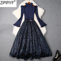 2018 New Women Autumn Winter O Neck Long Flare Sleeve Off Shoulder Knitted Top + Sequin Skirt Two Piece Ladies Skirt Suit C3201