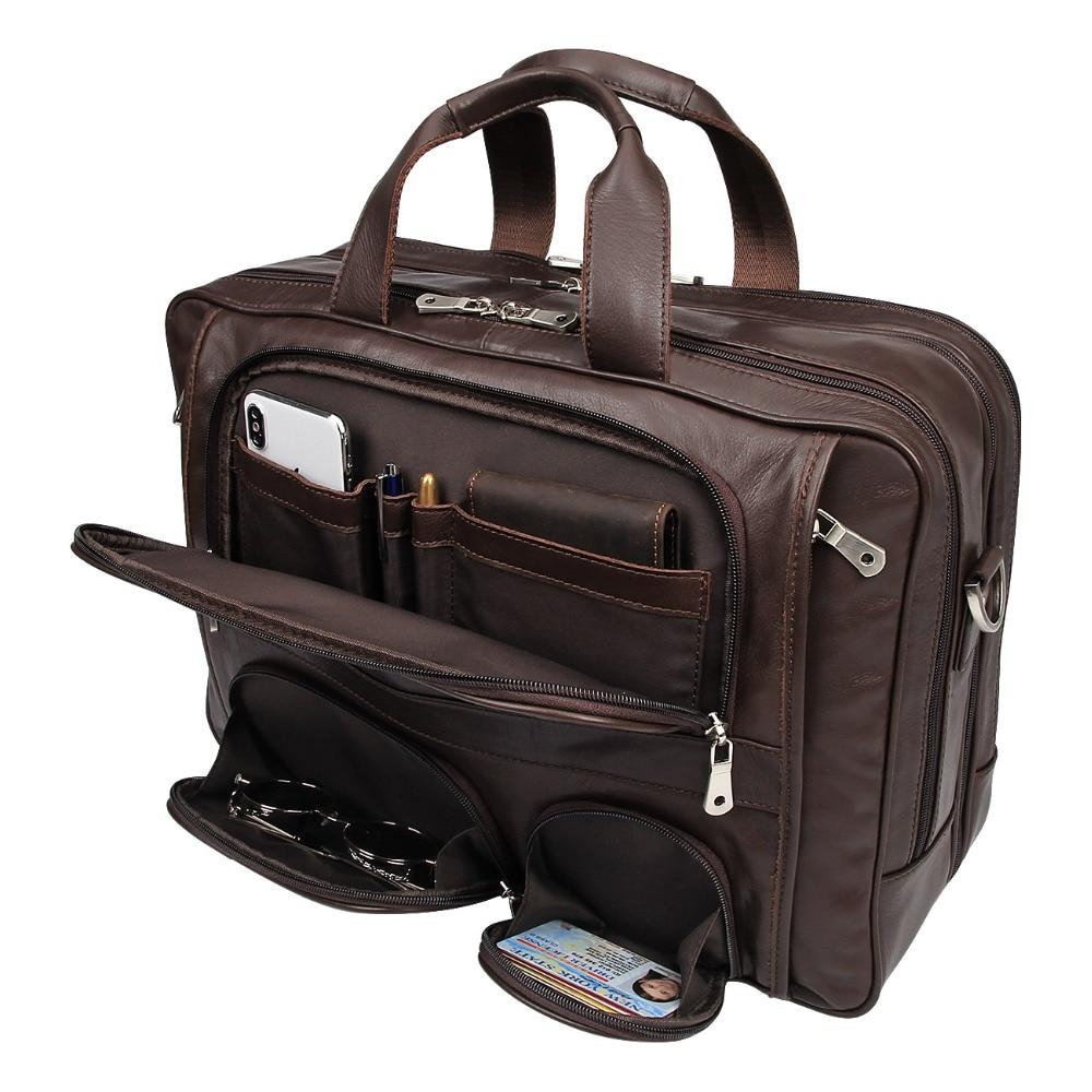 Free Shipping 100% Genuine Vintage Leather Laptop Bag Mens JMD Briefcase Portfolio Handbag # 7289C