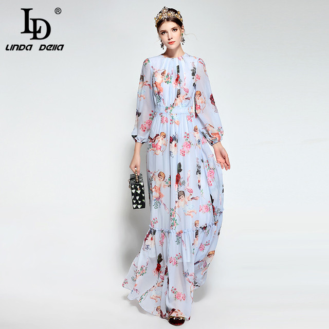 Long Sleeve Casual Bohemian Chiffon Angel Pattern Floral Print Long Dress