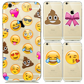 Fashion Clear Smiley Faces Emoticon Emoji Case for capinhas iphone 5s 5 6 6s Plus Soft TPU Rubber Cover Expression Accessories embroidery