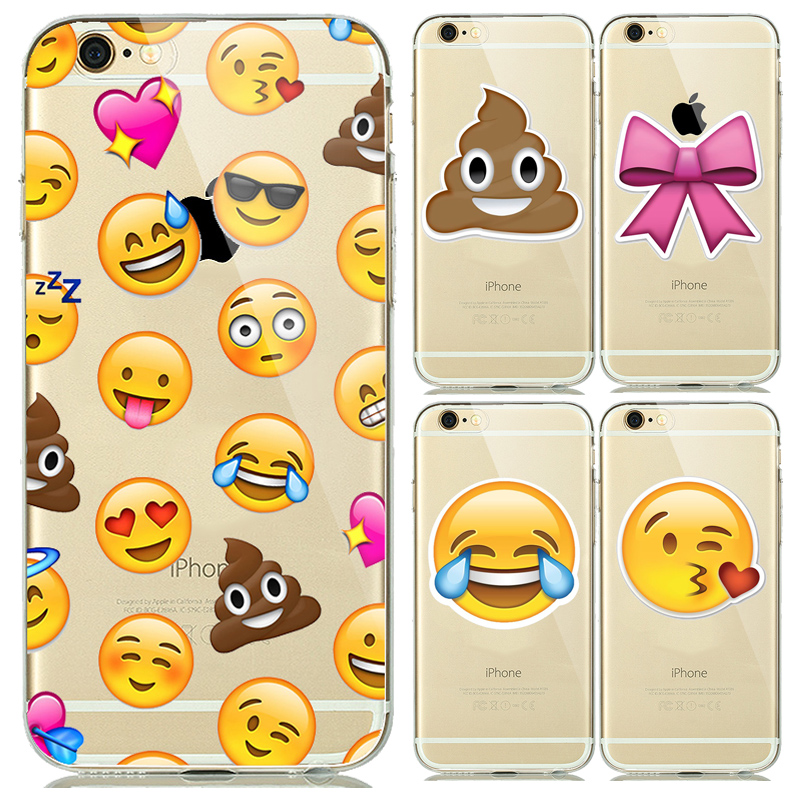 Fashion Clear Smiley Faces Emoticon Emoji Case for capinhas iphone 5s 5 6 6s Plus Soft TPU Rubber Cover Expression Accessories