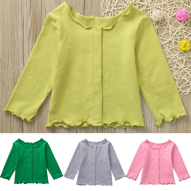 6348755bc MUQGEW 2018 Hot sale Children Kids Girls Long sleeves Solid Color Cardigan  Wavy Edge Top Clothes Dropshipping Baby Clothes