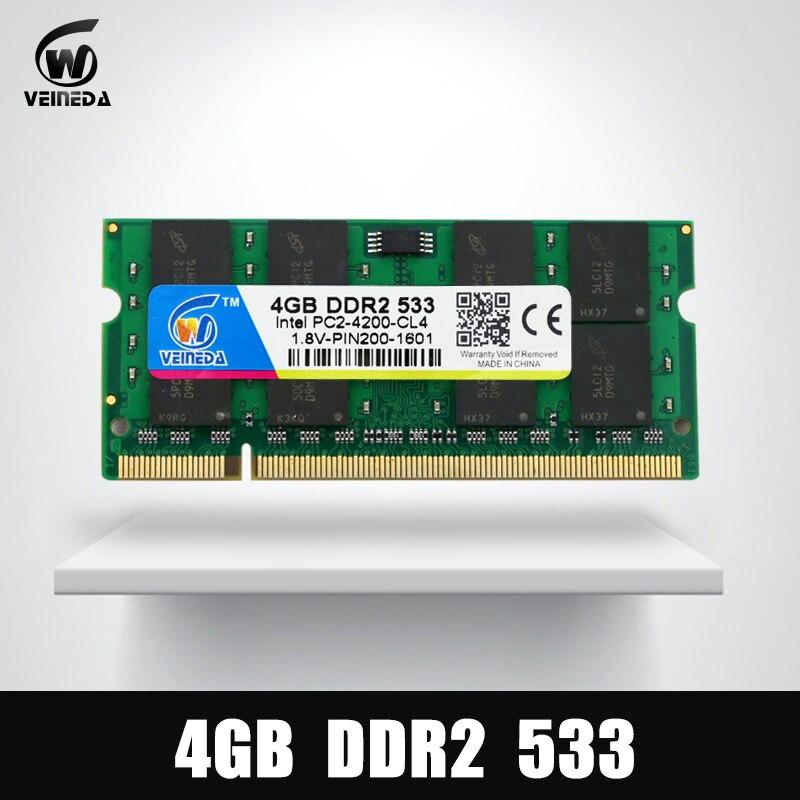 Новый оперативной памяти DDR2 4 Гб 533 МГц слота SODIMM ОЗУ DDR 2 4 Гб 533 память для ноутбука Мобо поддерживает DDR2 РС2-4200