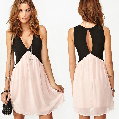 381d3d03b88a 2014 Women Black Patchwork Hollow Out Open Back Cute Chiffon dress ...