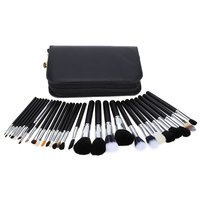 Completed Professional 29 Pcs Women Cosmetic Tool Makeup Brushes Set With Black Leather Case For Makeup