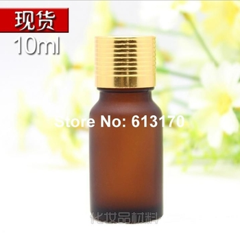 10ML 1/3OZ Empty Glass Bottles 10CC Amber Essential Oil Bottles with frosted Brown Screw cap Vials with gold Cap 30pcs/Lot