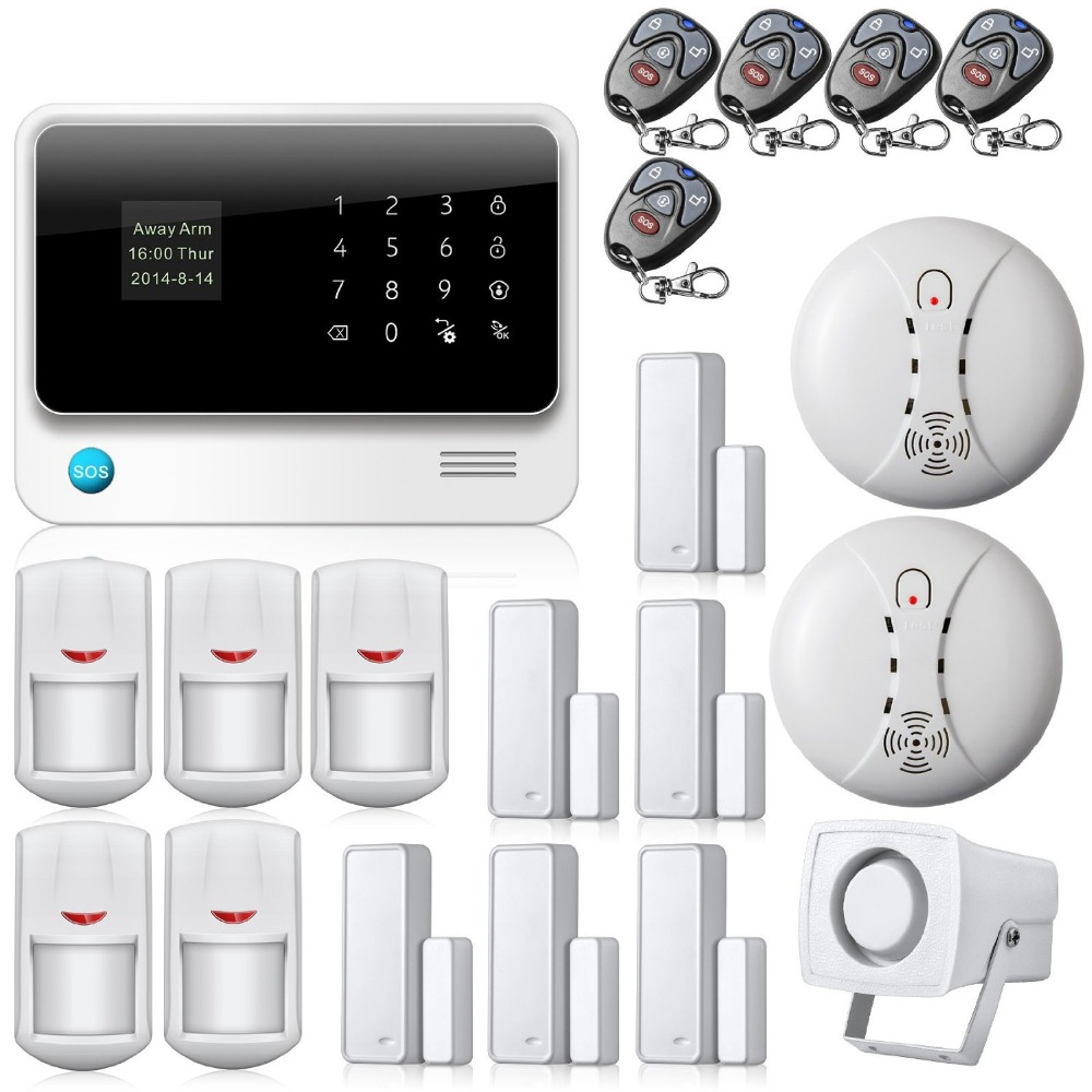 g90b wireless wifi gsm home security alarm system touch screen ios android app burglar security. Black Bedroom Furniture Sets. Home Design Ideas