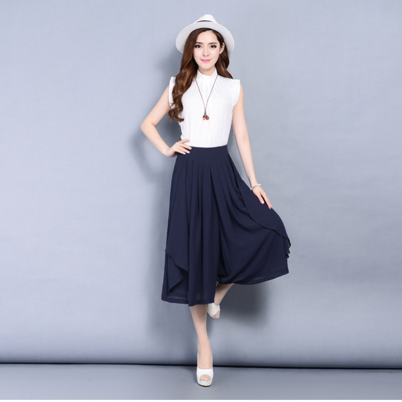 Casual Loose   Wide     Leg     Pants   Women breathable Elastic Waist Trousers Vintage Multilayered Skirt Style Casual   Pants
