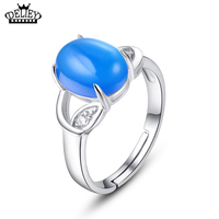 DELIEY Guarantee 100 Natural Blue Chalcedony 925 Sterling Silver Ring Lovely Female Models Open Design Ring