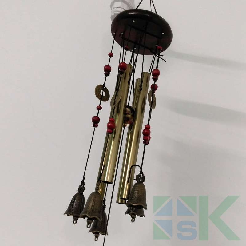 Creative gift metal tubes feng shui coins wind chime solid wood bronze wind chimes outdoor hanging decoration crafts home decor