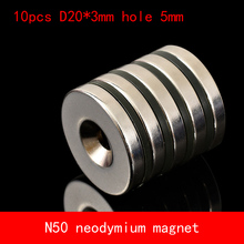 Hot Sale 10pcs 20 x 3 mm Hole 5mm N50 Super Strong Permanet Round Neodymium Countersunk Ring Magnet Rare Earth Magnets