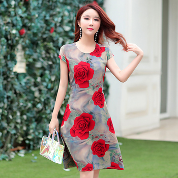 Ukraine Maxi Dress Hot Sale New Arrival O-neck Short Regular Natural Cotton Summer 2018 Ladies Short-sleeved Printed Slim Belt