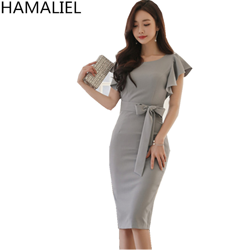 HAMALIEL High Quality Summer Office Lady Dress 2018 Korean Formal Women Short Sleeve Sashes Bodycon Ruffles Pencil Work Dress