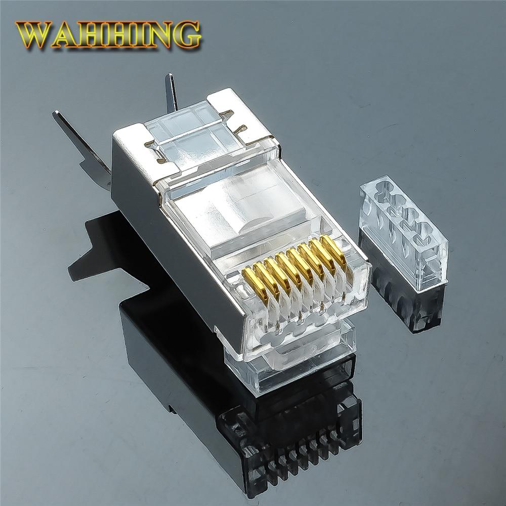 50/100 unids RJ45 conector Cat6a Cat7 RJ45 macho blindado FTP 8P8C red conectores de crimpado HY1530