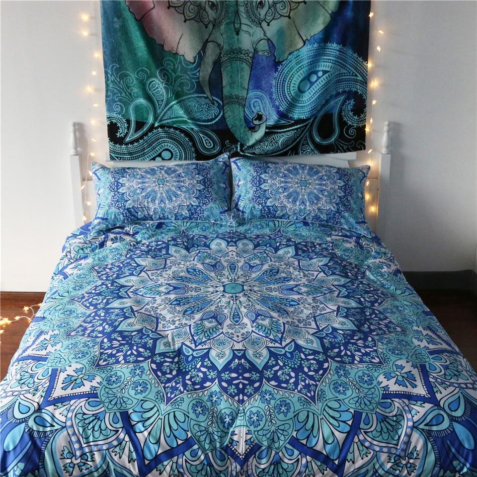 Inde bohème 3d impression housses de couette ensemble avec taies d'oreiller reine taille Mandala ensembles de literie maison Cool Design meilleur cadeau ligne de lit
