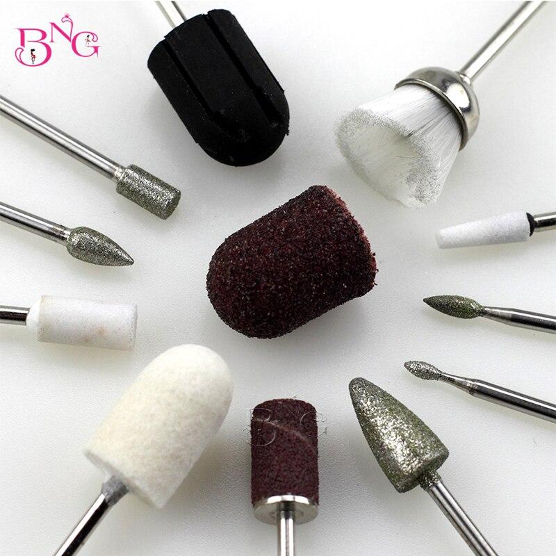 BNG 15pcs Pedicure Nail Drill Bits Multi Utili Manicure Electric Nail Files Cutte Machine Sanding Bands
