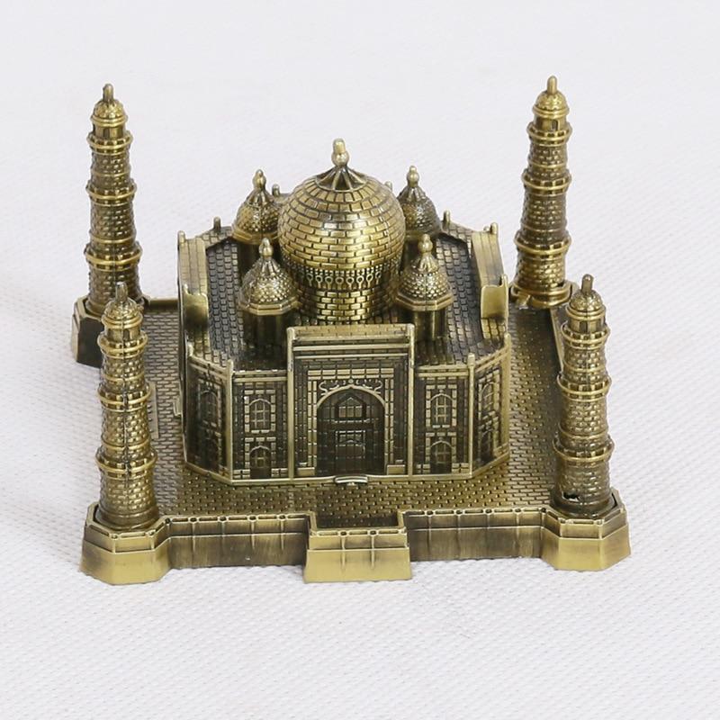 ERMAKOVA Metal Taj Mahal Figurine Statue World Famous Landmark Building Model Office Desktop Decoration Souvenir Gift