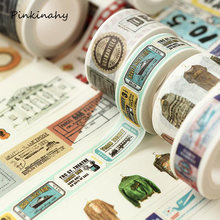 15-40mm * 10 m Vintage viaje sello Washi cinta Scrapbooking planificador cinta adhesiva(China)
