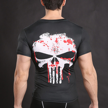 Punisher Skull Fitness Compression Crossfit Short Sleeves Men's T-shirt