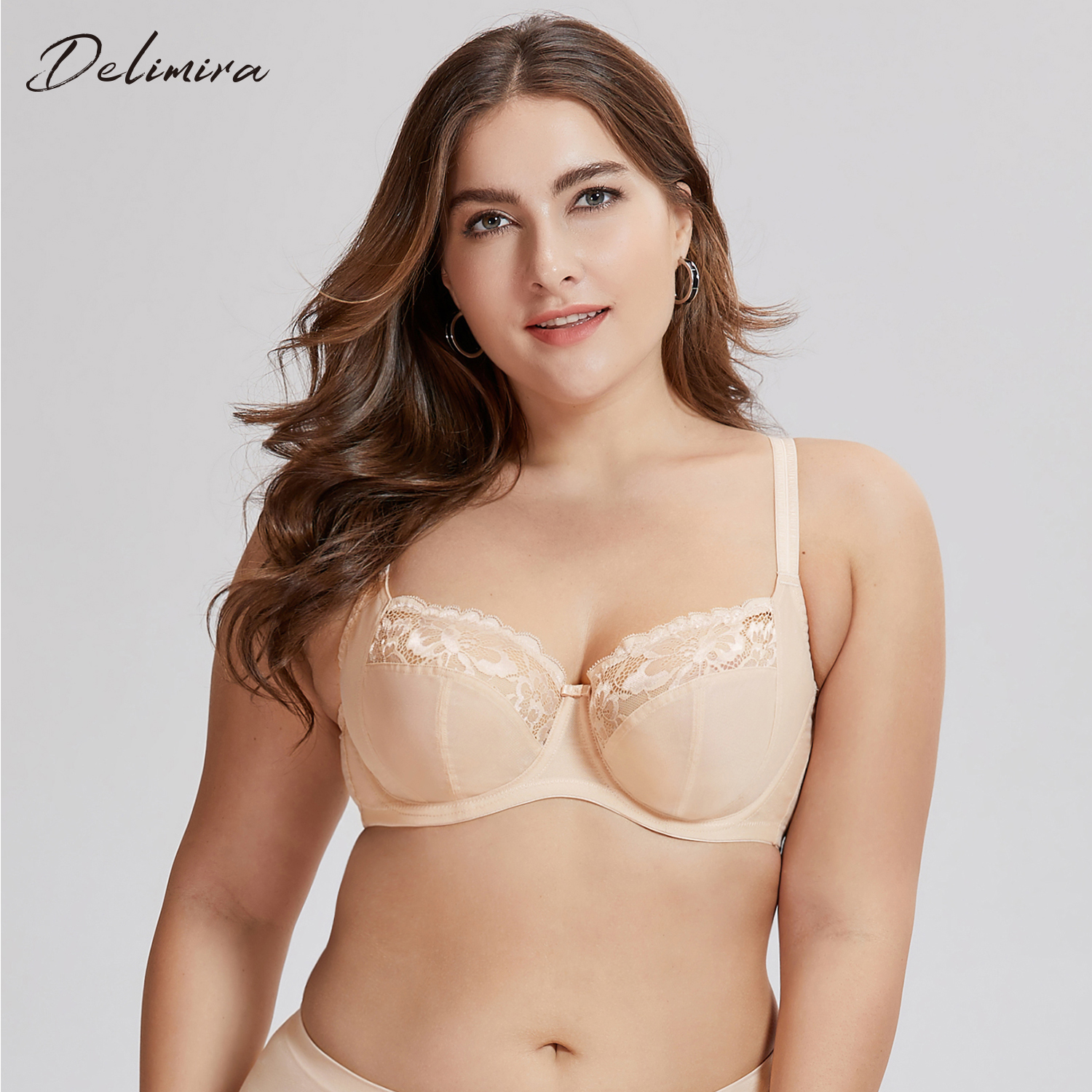 e64cdff89f65e Detail Feedback Questions about DELIMIRA Women s Non Padded Full Coverage  Floral Underwire Lace Balconette Bra Plus Size on Aliexpress.com