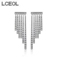 LCEOL 2017 מוצרים חדשים גדילים להתנדנד עגילי זהב לבן מהבהב בצבע, 6 יחידות תליוני מלא עם עגילי זירקון האוסטרי