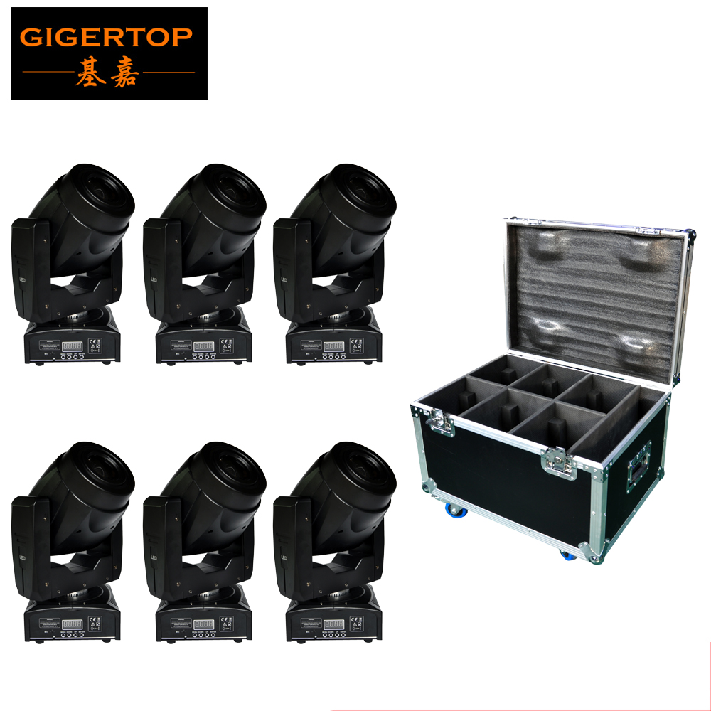 Freeshipping 6IN1 Flightcase Pack 60W Led Moving Head Spot Light Auto, Sound, DMX, Master/Slave 4 Button LCD Display 100V-220V