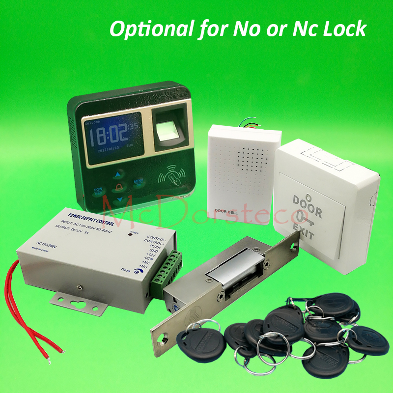 DIY Complete Narrow type Electric Strike Lock Door System Kit Fingerprint Access Control System + Power Supply + Door Bell lpsecurity gate door electric magnetic lock drop bolt strike access control system power supply with box cabinet 12v 5a