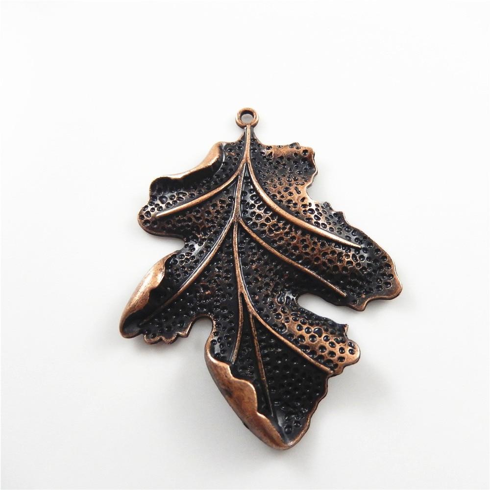 2 st / lot Red Copper Vintage Leaves Form Halsband Hänge Damgåva 67 - Märkessmycken - Foto 3