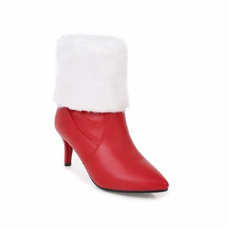 MLJUESE 2018 kadın Orta buzağı botları kış sıcak çizmeler sivri burun sonbahar kürk kısa peluş kırmızı renk yüksek çizmeler boyutu 34-43