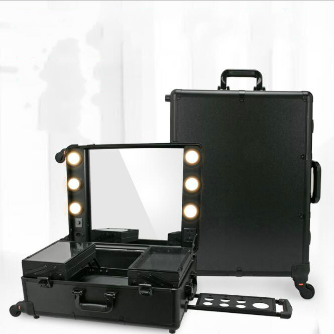 3 Types Professional Makeup Station Artist Rolling Case