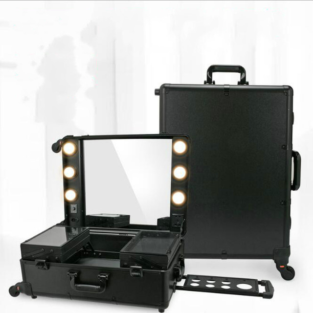 3 Types Professional Makeup Station Artist Rolling Case Led Lighted Mirror Organizer Trolley Box Blacktrain Bag