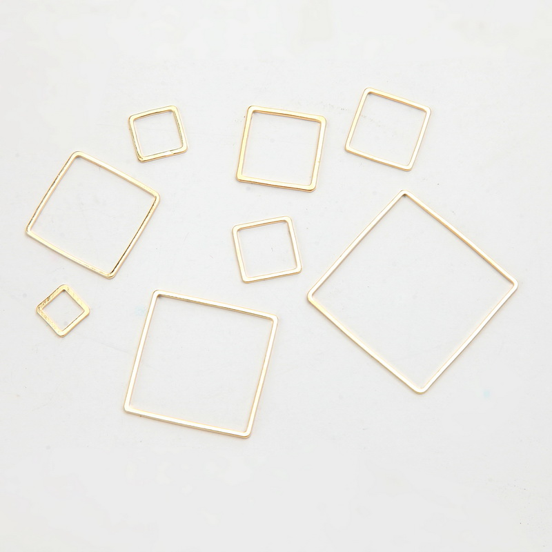 SUTI 50pcs/lot Gold-color Copper Square Accessories Hot Simple Geometric Shaped Earrings Pendants DIY Jewelry Making&Finding