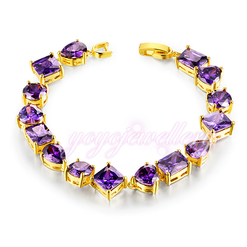 Mytys 7'' vogue  Yellow gold GP purple crystal tennis bracelet Zircon prong setting  bracelet B736