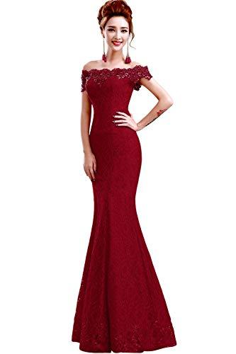 Misshow Русалка вечернее платье Розовое Кружевное длинное вечернее платье Элегантное с открытыми плечами без рукавов robe de Soiree - Цвет: burgundy